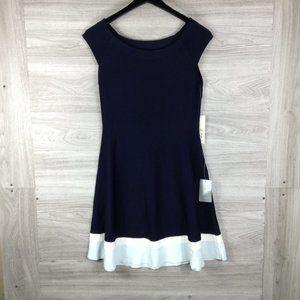 ELIZA J Navy Fit & Flare Knit Dress